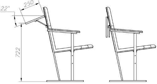 Схема размещения откидного столика на кресле для актового зала